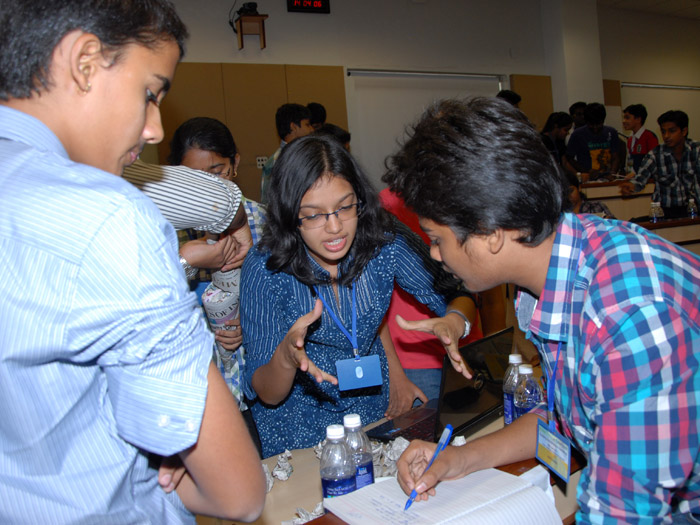 Students working together in Hyderabad, India