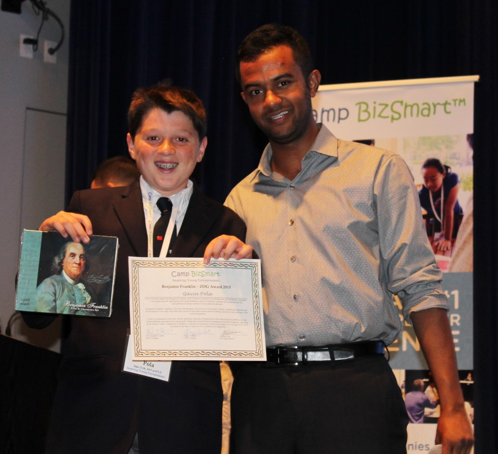 Gavin Pola with Abhinav Dev, Camp BizSmart Workshop Director