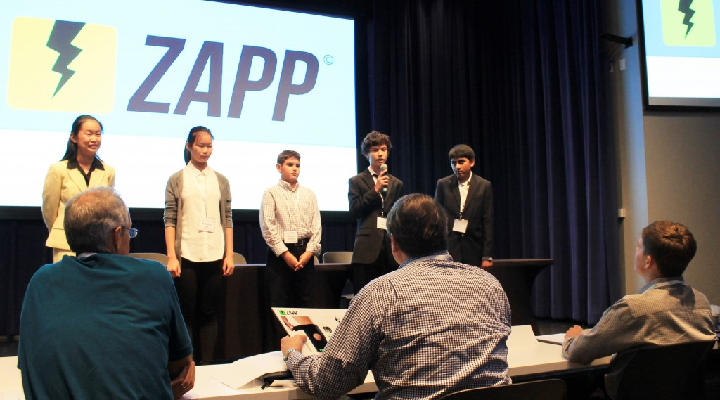 Judges panel Listening to the Zapp Knee Brace  presentation