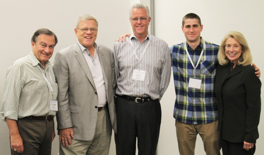 Judges Bill Joos, John Butler and Tim Reilly with Mike and Peggy Gibbs, cofounders,Camp BizSmart