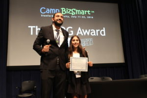 Camp Director Elian Savodivker with Isabella Palos, the ZOG winner for the July 11-15, 2016 Camp BizSmart session.